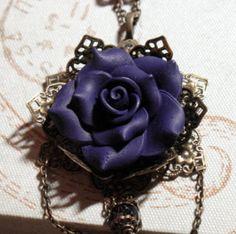 Purple Velvet Rose - Antiqued Filigree Crystal Necklace