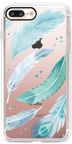 Casetify iPhone 7 Plus Case and other Feather Fever iPhone Covers - Blue Feathers by Four Wet Feet Studio | Casetify