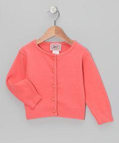Coral Pearl-Button Cardigan - Toddler by Barrel Sportswear #zulily #zulilyfinds
