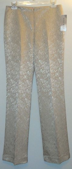 Nine West Jacquard Satin Trouser Pants. Free shipping and guaranteed authenticity on Nine West Jacquard Satin Trouser Pants at Tradesy. Elegant pants from Nine West in pale beige-gold pa...