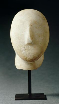 Head of female figure. Made on the island of Amorgos in the Cyclades, created during the third millennium BC | Louvre Museum