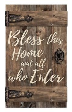 Hand-crafted in the shape of an old barn door, P. Graham Dunn's Bless This Home Door Wood Wall Art features kiln dried pine slats and cross beams. Faux hinges and hardware complete this rustic design. Wooden Art, Wood Wall Art, Wall Décor, Door Wall, Old Barn Doors, Wood Doors, Diy Wood Signs, Pallet Signs, Rustic Signs