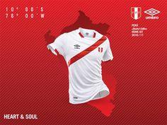 Peru home shirt for the 2016 Copa America. Peru Football, Copa America Centenario, Mens Tops, Shirts, America's Cup, Hs Sports, Football Boots, Cloaks, Balls