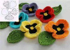 Renkli Örgü Çiçek Motifleri