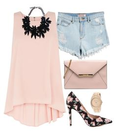 """""""Simple, Pink & Floral"""" by avonsblessing94 ❤ liked on Polyvore featuring GUESS, Apricot, ALDO and Anne Klein"""