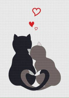 Cats in Love PDF Cross Stitch Pattern by XSquaredCrossStitch, $3.00