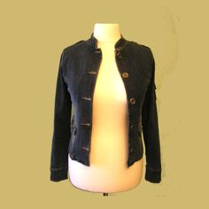 Vintage 1990s denim jacket military style neru collar denim coat metal buttons Classic Amisu Big Apple Denim Jacket UK Size 10 retro by IrishBarnVintage on Etsy