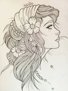 Gypsy Girl Tattoo Sketch. Would be so prettycould imagine all the bright, pretty colors you could do with this. Drawings    tattoos picture tattoo sketches