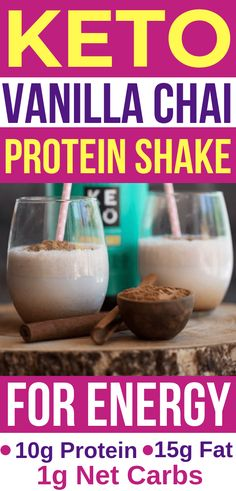 VISIT FOR MORE Vanilla Chai KETO PROTEIN SHAKE recipe! This ketogenic protein shake is perfect for busy mornings for breakfast or as a meal replacement! This low carb protein shake is so creamy, I love the keto protein powder in it! Keto Shakes, Keto Protein Powder, Low Carb Protein Shakes, Protein Shake Recipes, Smoothie Recipes, Diet Recipes, Dessert Recipes, Salad Recipes, Breakfast Recipes
