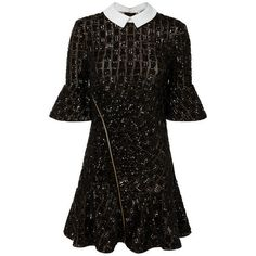 Self-Portrait Sequin Collared Mini Dress (7.329.160 IDR) ❤ liked on Polyvore featuring dresses, black, self portrait dress, short sequin dress, mini dress, sequin collar dress and sequined dress