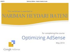 Optimizing Google AdSense Course and certificate by Google, May 2014