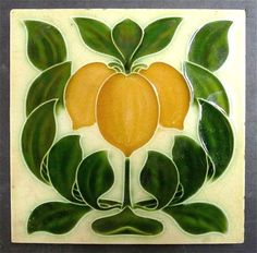 Antique English Art Nouveau Ceramic Tile