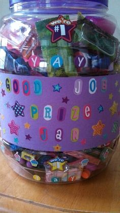 Good job prize jar....to help kids potty train.....earn rewards for doing a good job....positive reinforcements.....so they know to keep up the good work...soooo excited I made this can't wait to start using it!!!<3<3<3