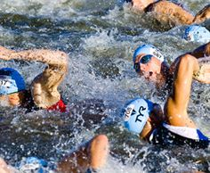 Swimming in a triathlon.