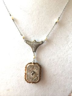 Antique Camphor Glass Necklace with by MidwestAtticTreasure, $180.00