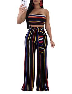 6ce9bbb5931c 2 Pieces Wide-Legged Pants With Strapless Crop Top Fashion Style