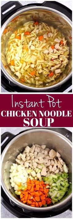 Instant Pot Chicken Noodle Soup Recipe - fastest and easiest way to make a big pot of chicken noodle soup! Perfect for the cold and flu season! chicken recipes dinners,cooking and recipes Instant Pot Pressure Cooker, Pressure Cooker Recipes, Pressure Cooking, Slow Cooker, Pressure Pot, Power Cooker Recipes, Pressure Cooker Chicken, Crockpot Recipes, Chicken Recipes