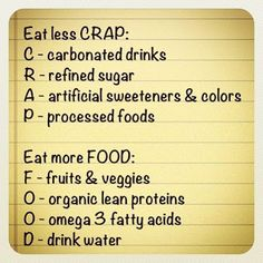 Fitness motivation: Eat Less Crap - Workout Obsession Get Healthy, Healthy Habits, Healthy Tips, Healthy Choices, Eating Healthy, Healthy Weight, Healthy Recipes, Easy Recipes, Healthy Foods
