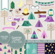 Glamping Clipart Set, 30 PNGs, 5 Glamping Digital Paper JPGs, Commercial Use, Girly camping site clipart, pink campground, camp fire clipart by PixelPineClipart on Etsy
