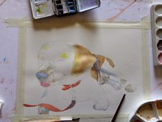 Marissa paints watercolors and more....: Tod in the woods - Beagle portrait demo