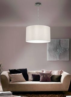 This Eglo Maserlo Small White Round Pendant Light (Eglo simplistic and modern light. It is constructed with a White gloss outer fabric with an inner white finish. Wall Lights, Ceiling Lights, Throw Pillows, Inspiration, Lighting, Furniture, Home Decor, Wall Design, Home