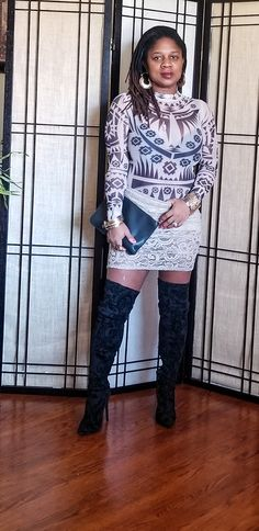 Tattooed Bodysuit & Lace Skirt… – Nzuri N* Simplicity Big Legs, Thigh Highs, My Outfit, Really Cool Stuff, Lace Skirt, Paisley, Thighs, Bodysuit, High Neck Dress