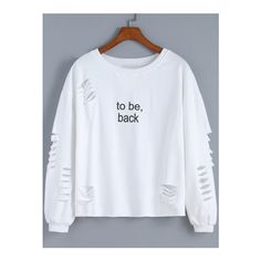 SheIn(sheinside) White Round Neck Cut-out Letters Print Sweatshirt ($20) ❤ liked on Polyvore featuring tops, hoodies, sweatshirts, t o p s, white, polyester sweatshirt, patterned sweatshirts, white long sleeve top, long sleeve tops and sweater pullover