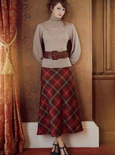 Love love love this skirt and style Bias Cut Skirt Special Order - Contemporary Tartan Skirts - Tartan Skirts & Kilted Skirts - Womens Clothing - Womens Modest Outfits, Skirt Outfits, Modest Fashion, Dress Skirt, Kilt Skirt, Ladies Fashion, Womens Fashion, Mode Tartan, Tartan Plaid