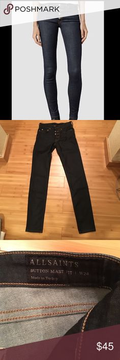 8ab7f5c427d All saints jeans size 24 All saints jeans with interesting button fly dark  denim jeans. Inseam worn once perfect condition All Saints Jeans Skinny