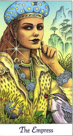 03 - The Empress | Cosmic Tarot by Norbert Lösche | A beautiful woman with a crown of stars amidst a fertile landscape. Meaning: feminine wisdom, sensuality, beauty, culture, abundance. Reversed: boredom, lethargy and temptation through earthly things.