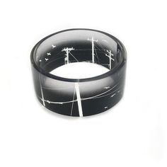 Resin Bangle Bird on a Wire Black and White