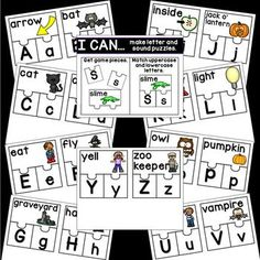 Halloween ELA Activities - Sharing Kindergarten Abc Phonics, Kindergarten, Cvce Words, Halloween Math, Math Groups, Upper And Lowercase Letters, Math Activities, Monster Activities, File Size