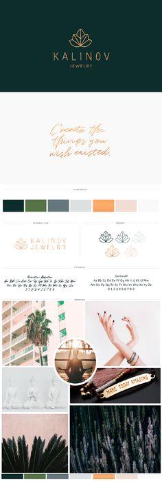 Brand board, moodboard, logo design, colors, fonts, and logo submarks for Kalinov Jewelry, a yoga-inspired jewelry line based in Miami. A maple leaf and lotus are the inspiration behind this modern and iconic logo design. Influenced by the tropical feel of Miami as well as by yoga, using greens, grey-blues, copper, and pink as the color scheme for the brand. | Custom brand design by Callie Cullum.