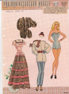 Allers 1940 - 1949 | Maggans nostalgiska klippdockor *1500 free paper dolls for Christmas at artist Arielle Gabriels The International Paper Doll Society and also free Asian paper dolls at The China Adventures of Arielle Gabriel *