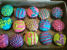 The colorful cupcakes I made and decorated for my 19th birthday!