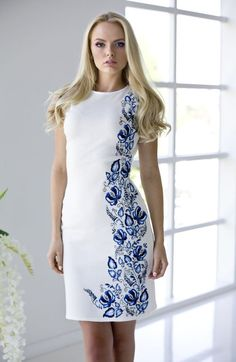 "Summer dress ""Bindweed"" milky white cotton with handmade embroidered gzhel style stranded leaves Embroidery On Clothes, Embroidered Clothes, Embroidery Fashion, Embroidery Dress, Hand Painted Dress, Painted Clothes, Casual Dresses, Fashion Dresses, Summer Dresses"