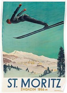 Vintage Travel Poster Switzerland - Saint Moritz Poster