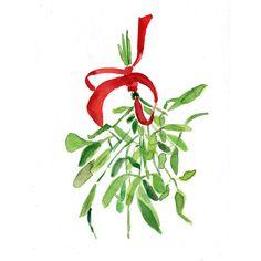 Mistel Weihnachten Bouquet mit Red Ribbon ist ein Kunstdruck von meinen original Aquarell.Das Original wurde verkauft. Es wird eine schöne frische