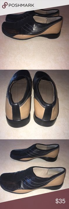 🌻Nine West sz6.5 NEW black/tan slip ons. So comfy 🌻Nine West sz6.5 NWOT black/tan slip ons.  Never worn.  Very comfortable shoes and sooo cute!!  Smoke and pet free home. Taking offers!!🌻 Nine West Shoes