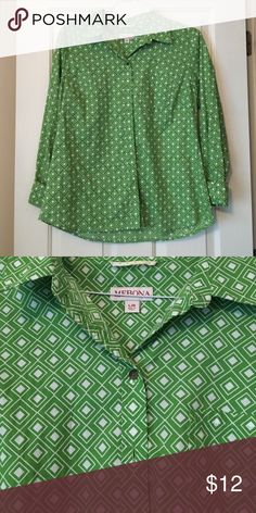 Merona Women's Button Down Long Sleeved Blouse Pocket detail to front, bright light green with geometric print / women's size large / by Merona Merona Tops Button Down Shirts