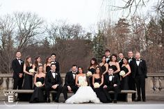 march wedding, spring wedding, bridal party, bridal party picture ideas, black bridesmaid dress, black and white wedding #bridalparty #weddings
