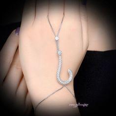 Question mark CZ Slave Chain Bracelet Ring Hand Jewelry Silver Tone Gift R1170 #crazycenter #Handletchainbraceletring