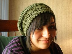 """Slouchy hat with picot edge (would look great with Susie's reading mitts"""""""