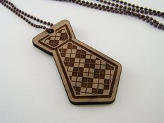 Argyle tie necklace made from laser cut wood, now on Etsy
