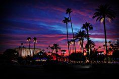 Mesa Arizona LDS temple with Christmas lights and sunset