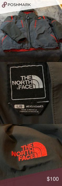 North Face Men's Winter Jacket; 3-in-1 Ski Jacket Large North Face Men's Ski Jacket. Three in one ability. Bright red liner with grey outer shell. Some wear on sleeves and hem of liner. The zipper can occasionally stick as well. Otherwise, good condition and perfect for cold climates. The North Face Jackets & Coats Ski & Snowboard