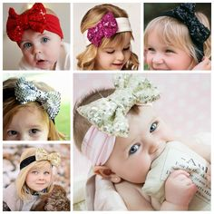 New Lovely Baby Headbands Boutique Sequin Bow With Cotton Hair bands Girl Headbands Baby Hair Accessories 10pcs/lot TD50