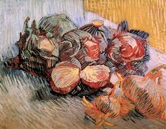 Vincent van Gogh: Still Life with Red Cabbages and Onions.  Oil on canvas.  Paris: Autumn, 1887.  Amsterdam: Van Gogh Museum.
