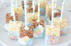 www.crazyaboutboo.com Make your little one's Unicorn Birthday Party Extra Magical. Unicorn Party Ideas, Outfits and Food, including these Rainbow and Sprinkles Rice Krispies Treats Pops.