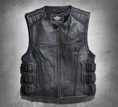 Perforated genuine leather makes this vest incredibly breathable while adjustable side tabs add a unique style feature and a customizable fit. | Harley-Davidson Men's Swat II Leather Vest